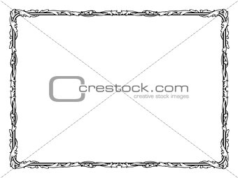 calligraphy curly baroque frame black