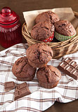 Fresh chocolate muffins