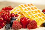 fresh tasty waffer with powder sugar and mixed fruits