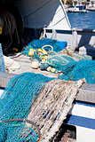 fishnet trawl rope putdoor in summer at harbour