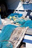 fishnet trawl rope putdoor in summer at harbour