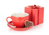 Red coffee cup, chocolate cookie and gift box