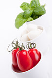 tasty tomatoe mozzarella salad with basil on white