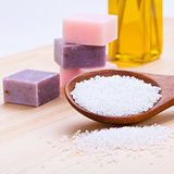 welnness spa objects soap and bath salt closeup