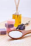 welnness spa objects soap and bath salt closeup