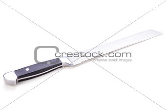 kitchen knife for bread object isolated on white