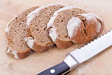 homemade fresh baked bread and knife