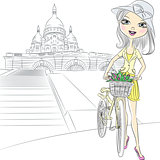 Vector beautiful girl with a flowers in Paris