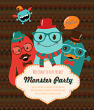 Monster Retro Party Invitation Card Design. Vector Illustration