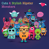 Cute and Stylish  Hipster Monsters. Fully editable and customizable. Freaky characters background. Vector Illustration