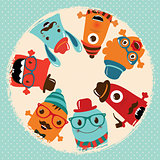 Hipster Retro Monsters Card Illustration, Banner, Background