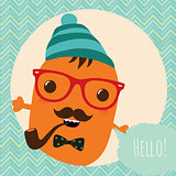 Hipster Retro Monster Card Illustration, Geometric Background