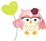 Pink Owl with Balloon