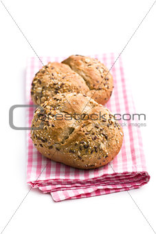 breads on checkered napkin