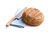 round bread with knife