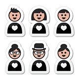 People in love, valentine's day icons set