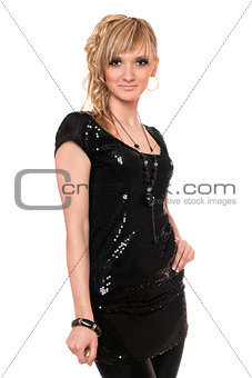 Portrait of pretty blonde in a black dress