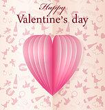 Pink vector paper Valentine's heart