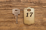 Close up shot of hotel room key shot on wooden background