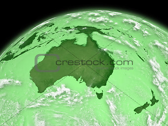 Australia on green Earth