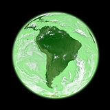South America on green Earth