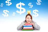 smiling young student thinking to earn money  with books