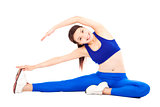 smiling  woman doing core workout, warm up  body