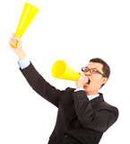 Businessman  encouraging and inspiring with cheering megaphone