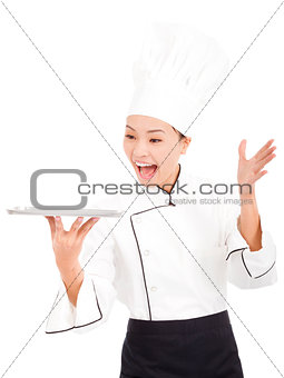 amazing cook woman chef holding tray