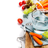 Fresh healthy vegetables and water