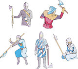 medieval knights with axes