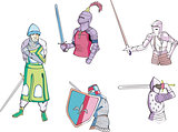 Set of knights with swords