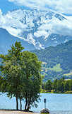 Lake Passy and Mont Blanc mountain massif summer view.