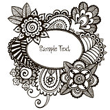 Doodle vector frame with floral design elements.