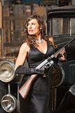 Confident Gangster Woman with Gun