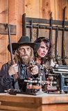 Sheriff Points Gun With Woman