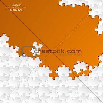 Abstract white group puzzle with orange  background