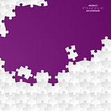 Abstract white group puzzle with violet  background