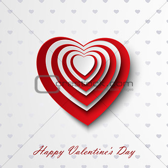 Valentine card with red and white hearts