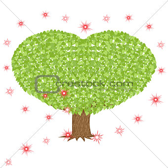 Green tree with heart shaped crown