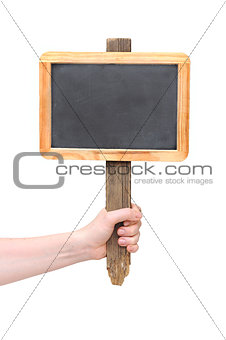 Chalkboard sign on hand isolate on white