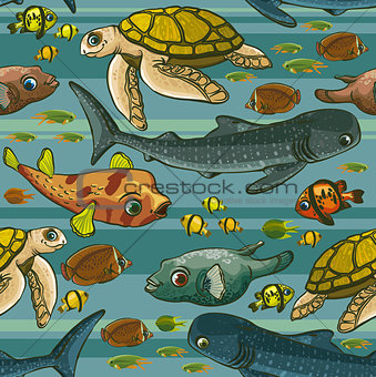 Pattern with underwater creatures.
