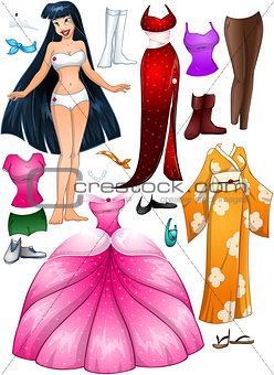 Asian Girl Princess Dress Up