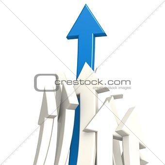 Blue arrow toward success