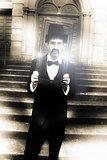 Man Holding Vintage Gold Picture Frame