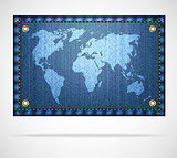 White world map on blue jeans background
