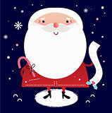Beautiful cute Santa with delivery note on dark blue background