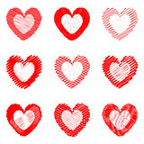 Set of design drawn heart icons for Valentine's Day and wedding