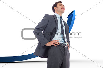 Composite image of cheerful businessman with hands on hips