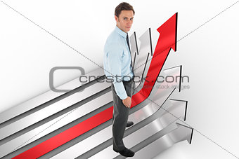 Composite image of serious businessman standing